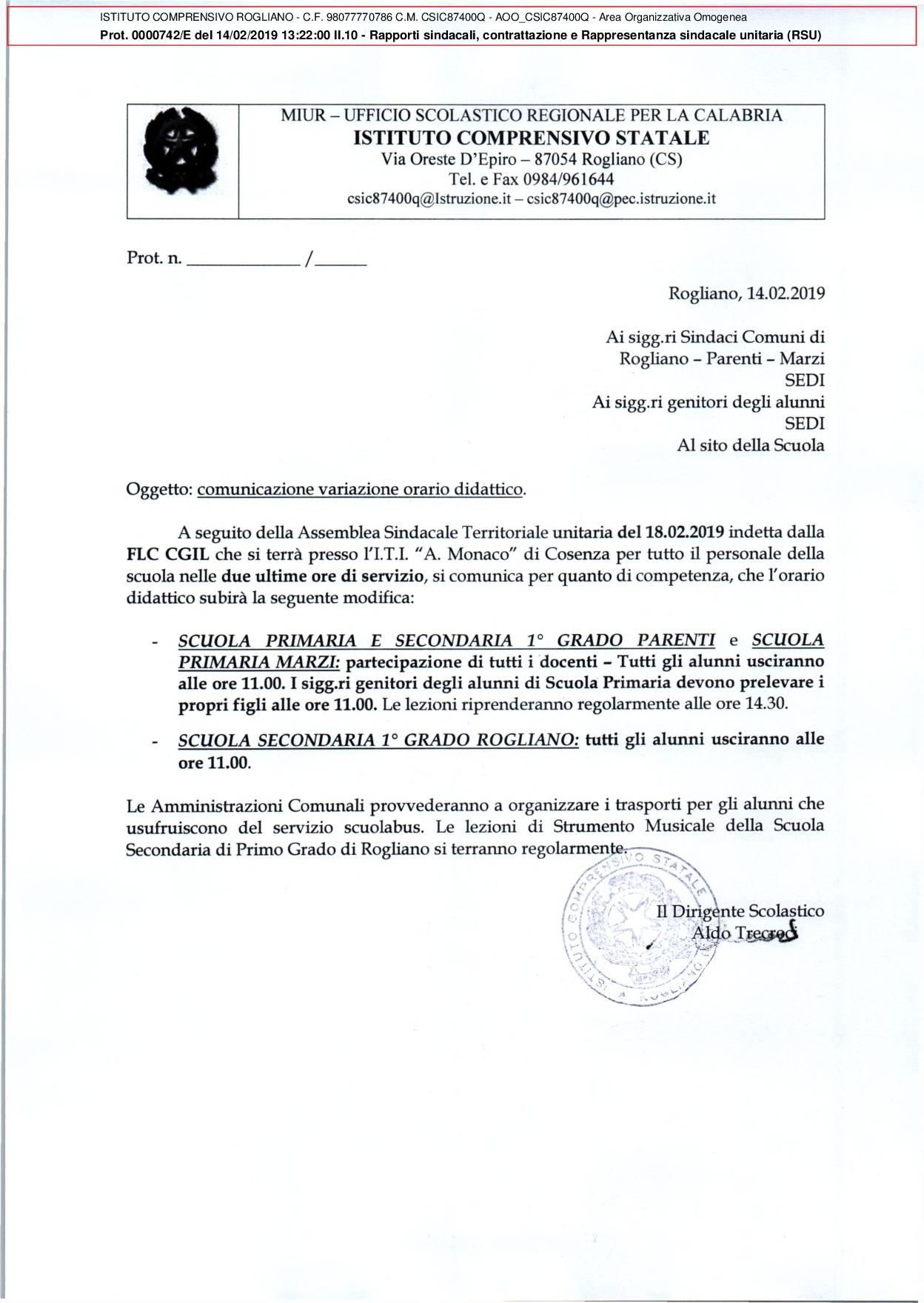 AVVISO AI GENITORI - USCITA ANTICIPATA DEL 18 Febbraio 2019