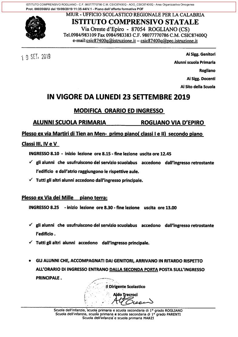 NUOVO ORARIO D'INGRESSO - SCUOLA PRIMARIA PLESSO VIA ORESTE D'EPIRO