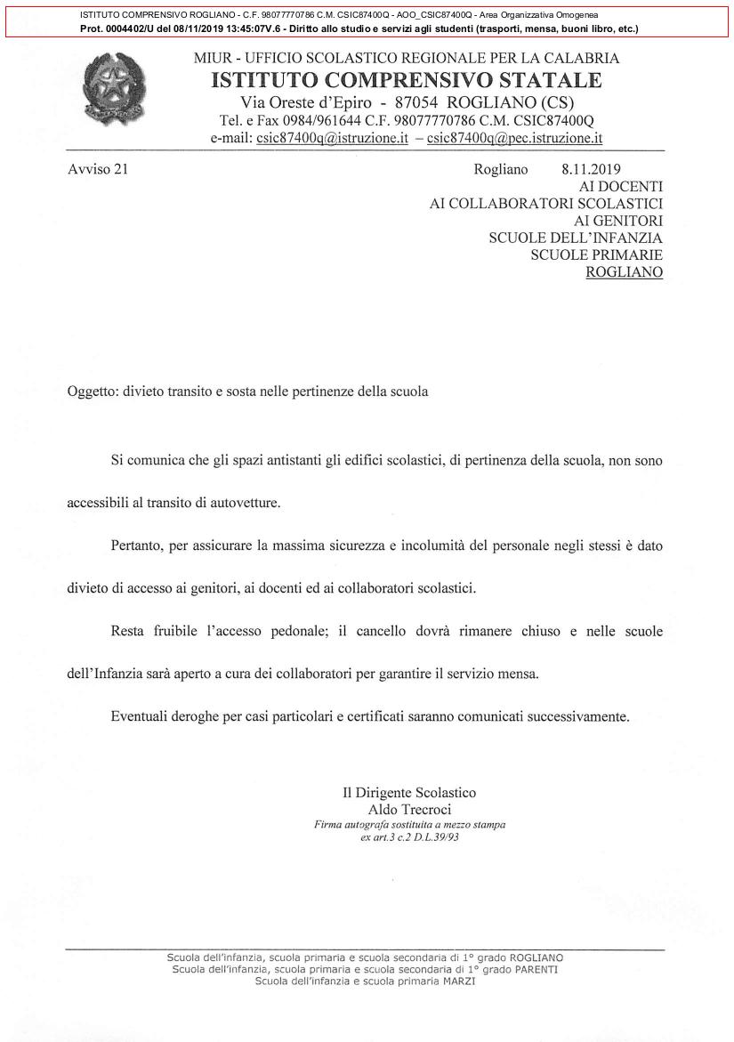 DIVIETO DI SOSTA E DI TRANSITO NELLE PERTINENZE DELLE SCUOLE PRIMARIE E DELL'INFANZIA DI ROGLIANO