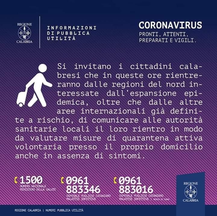 NUOVO CORONAVIRUS - INDICAZIONI REGIONALI DI PUBBLICA UTILITA'