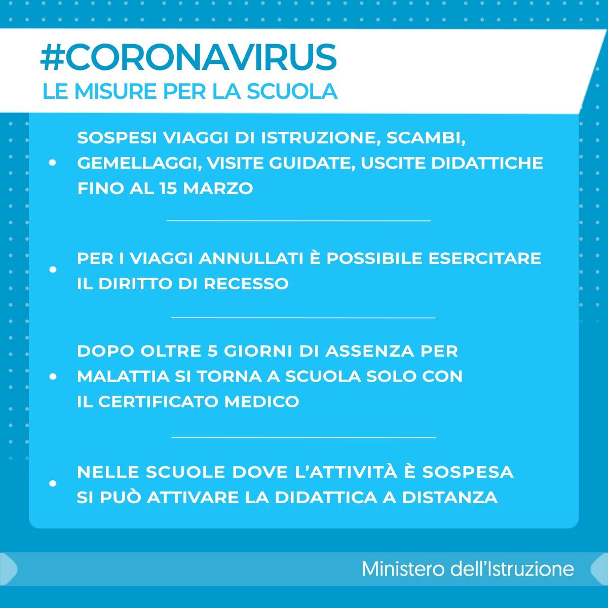 NUOVO CORONAVIRUS - COMUNICATO STAMPA MINISTERO DELL'ISTRUZIONE