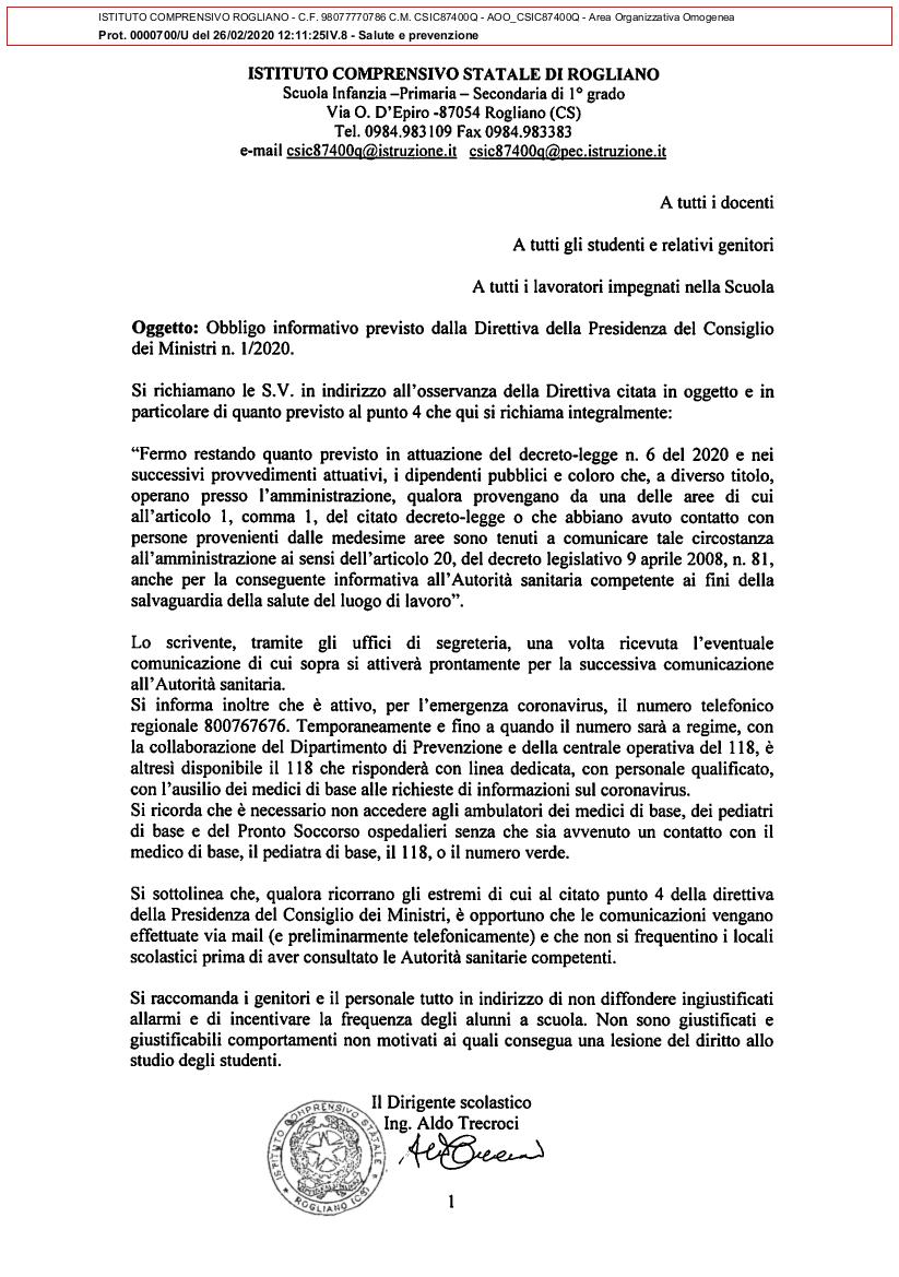 OBBLIGO INFORMATIVO PREVISTO DALLA DIRETTIVA DELLA PRESIDENZA DEL CONSIGLIO DEI MINISTRI N. 1/2020