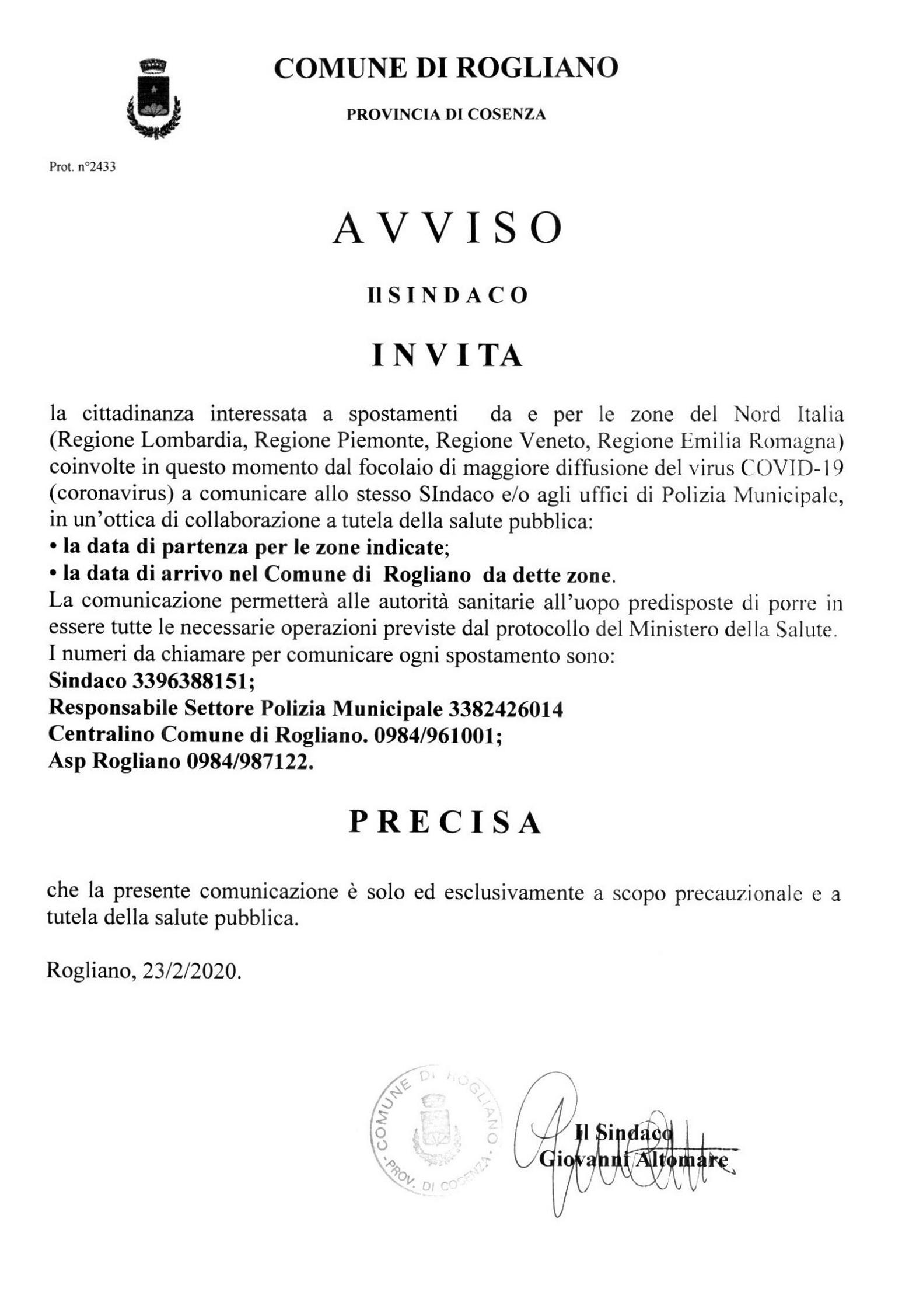 NUOVO CORONAVIRUS - INDICAZIONI DEL COMUNE DI ROGLIANO DI PUBBLICA UTILITA'