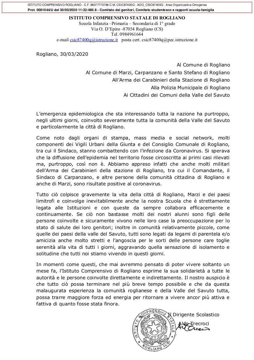 Emergenza COVID-19 - Solidarietà a tutte le autorità e le persone coinvolte direttamente e indirettamente