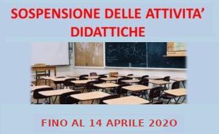 Proroga della sospensione dell'attività didattica in presenza fino al 13 Aprile 2020