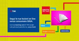 Promo e-learning card di TIM per navigare sulle piattaforme indicate dal Ministero dell'Istruzione, senza limiti